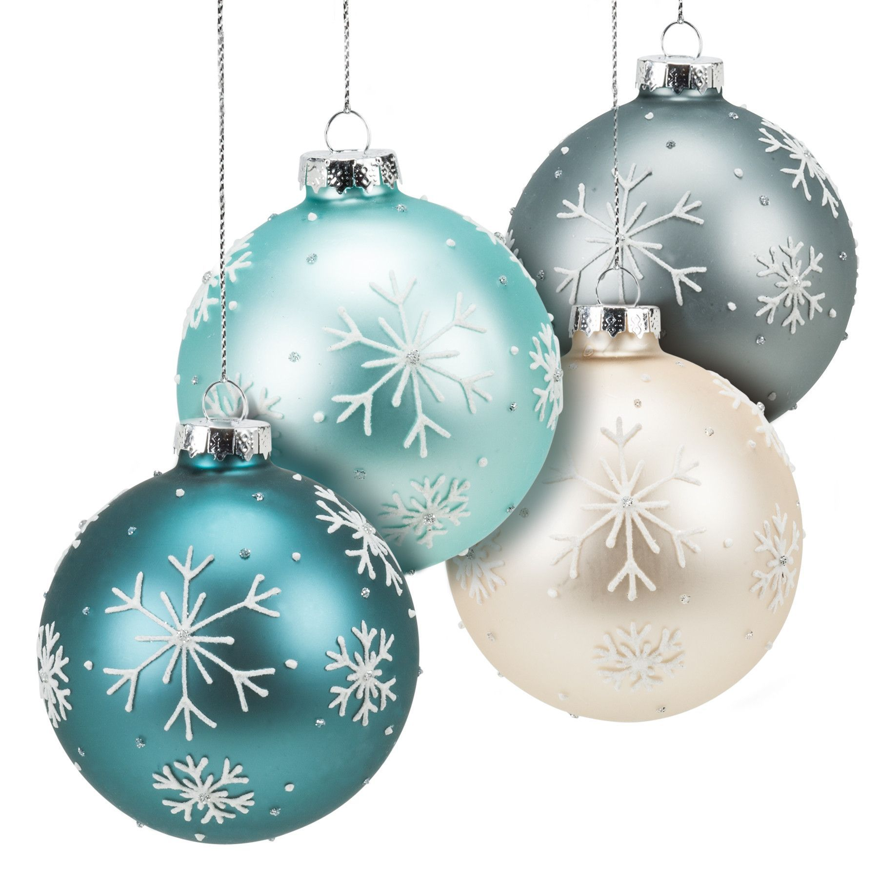 Set Of 4 Assorted Glass Snowflake Ball Ornaments