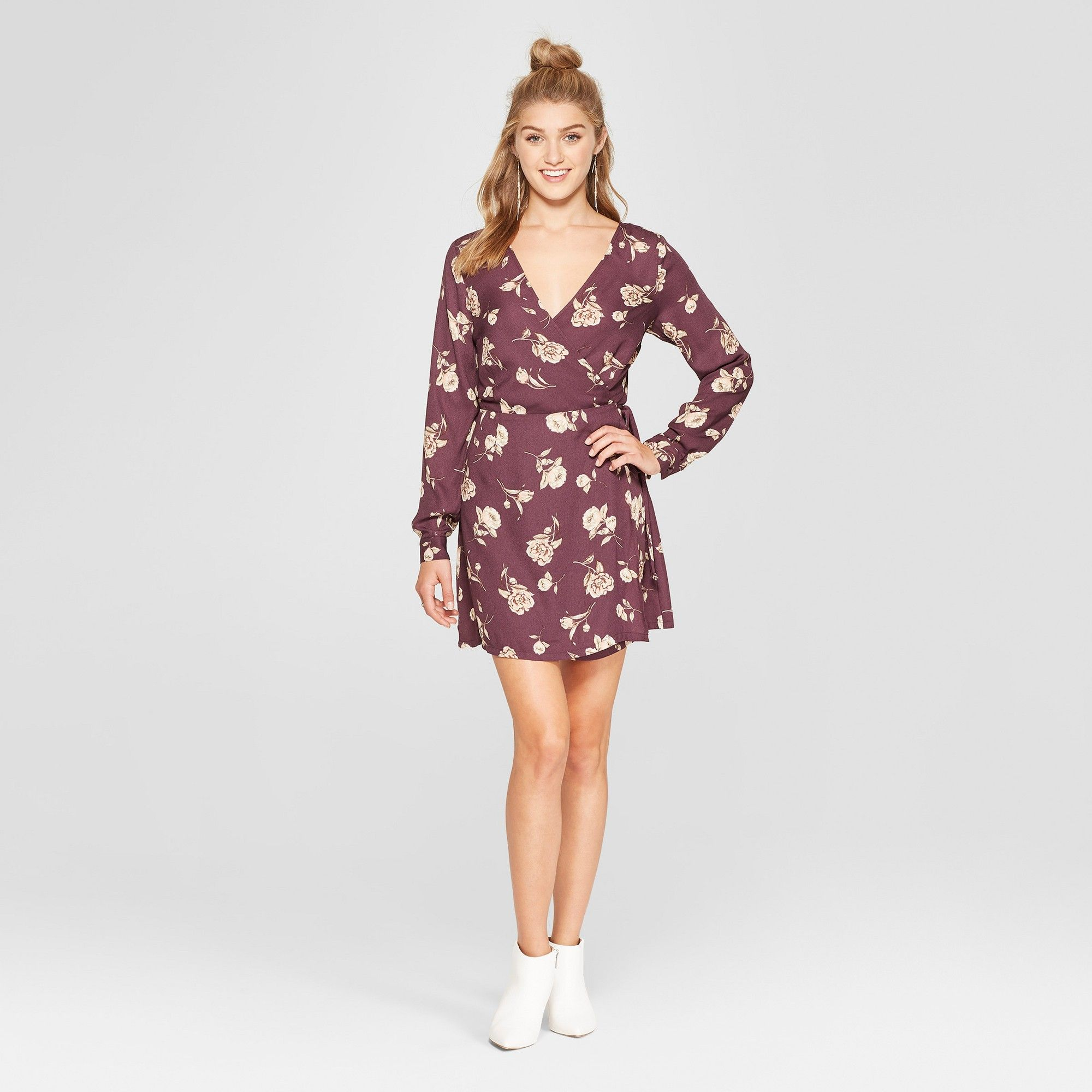 49af0ee14878 Women s Floral Print Long Sleeve Wrap Dress - Xhilaration Purple Xxl ...