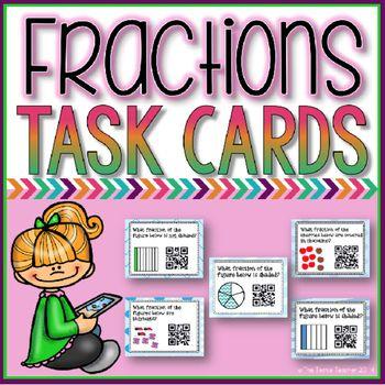 Fractions SelfChecking QR Code Task Cards Fractions