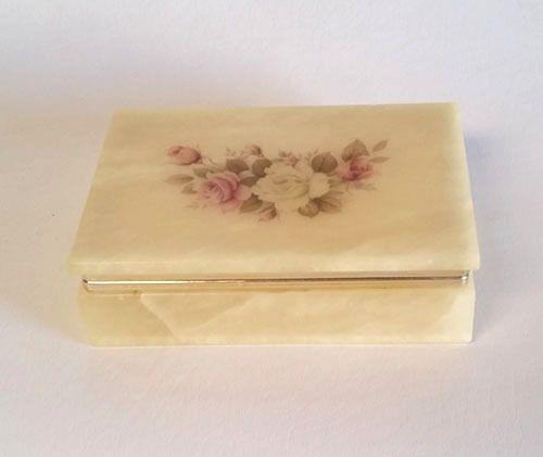 Italian Alabaster Marble Jewelry Trinket Box Vintage 1950 1960 S