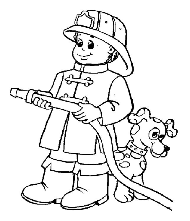 A Great And Energetic Fireman Coloring Page For Kids