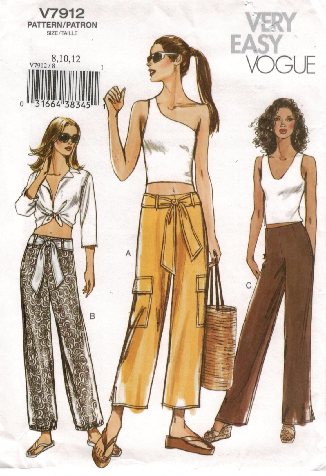 Vogue Pattern 7912 Very Easy Vogue Cargo pants in three views for ...