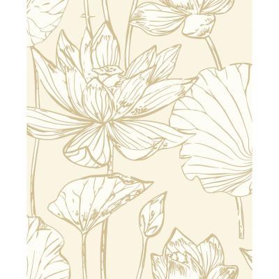 Lotus Floral Metallic Gold Cream Peel And Stick Wallpaper 30 75 Sq Ft In 2021 Peel And Stick Wallpaper Coral Wallpaper Temporary Wallpaper