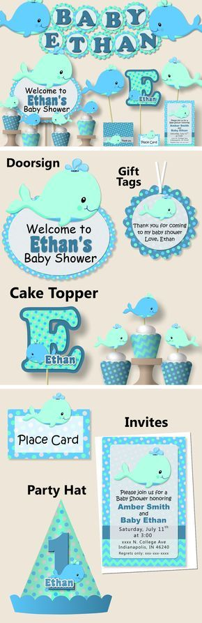 whale baby shower decorations or nautical first birthday party invitation party favors banner party hat blue aqua teal