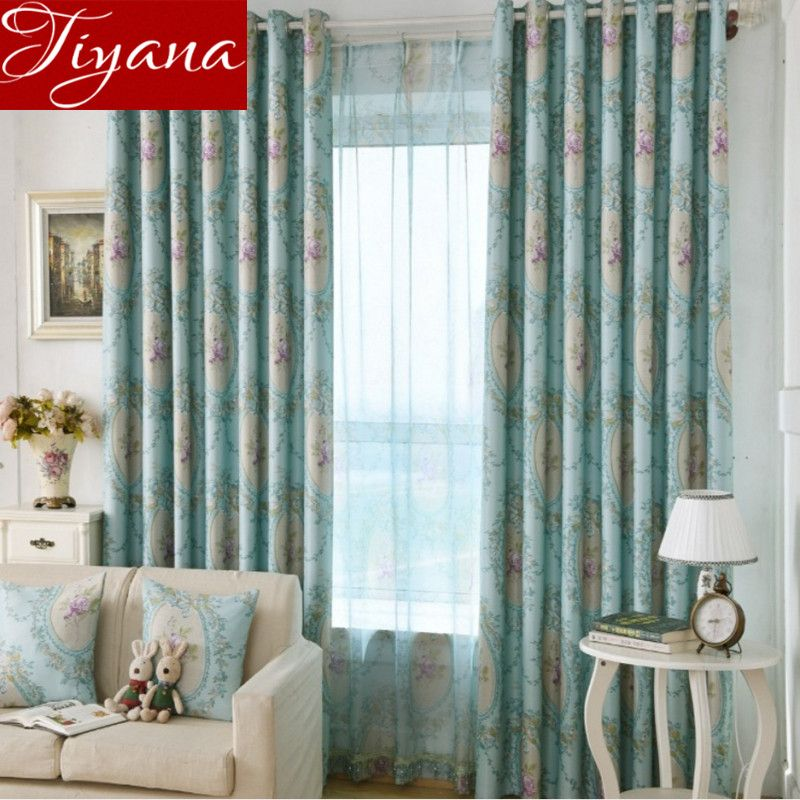 Floral Curtains Print Sheer Voile Window European Modern Living Room Bedroom Curtians Drapes Tulle Cortinas Dormitorio