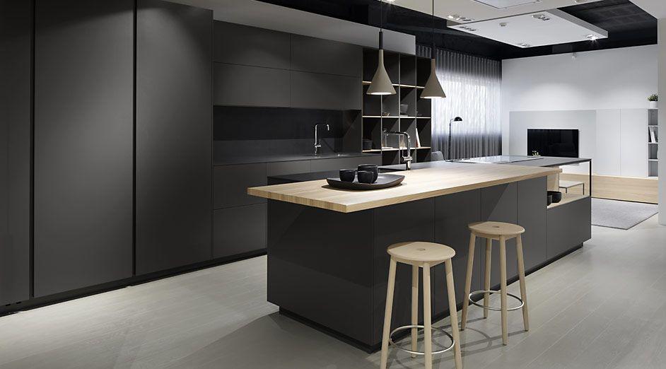 Acabado cocinas interiorismo en 2019 cocina moderna for Cocina de madera gris oscuro