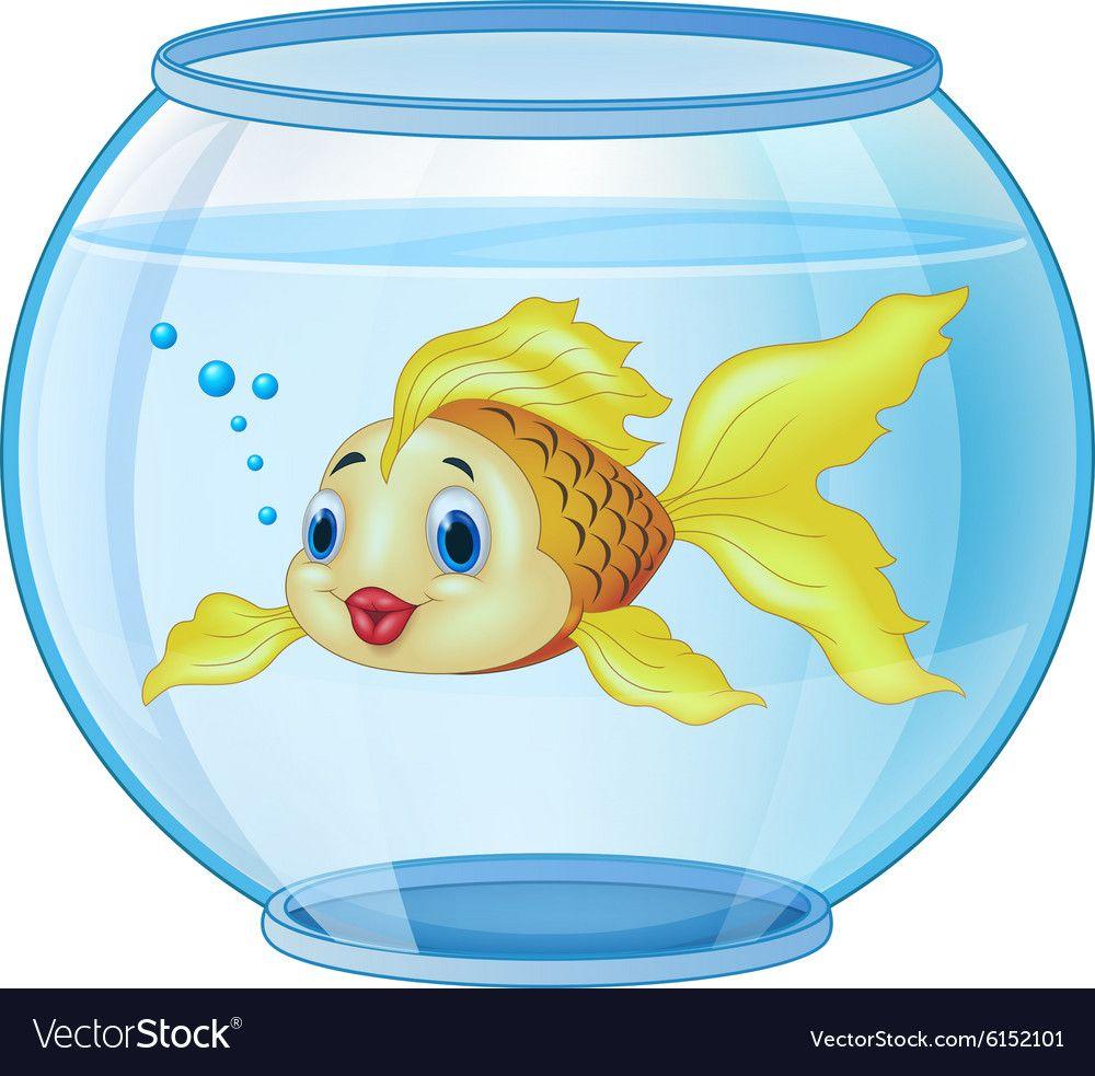 Cartoon golden fish in the aquarium vector image on ...