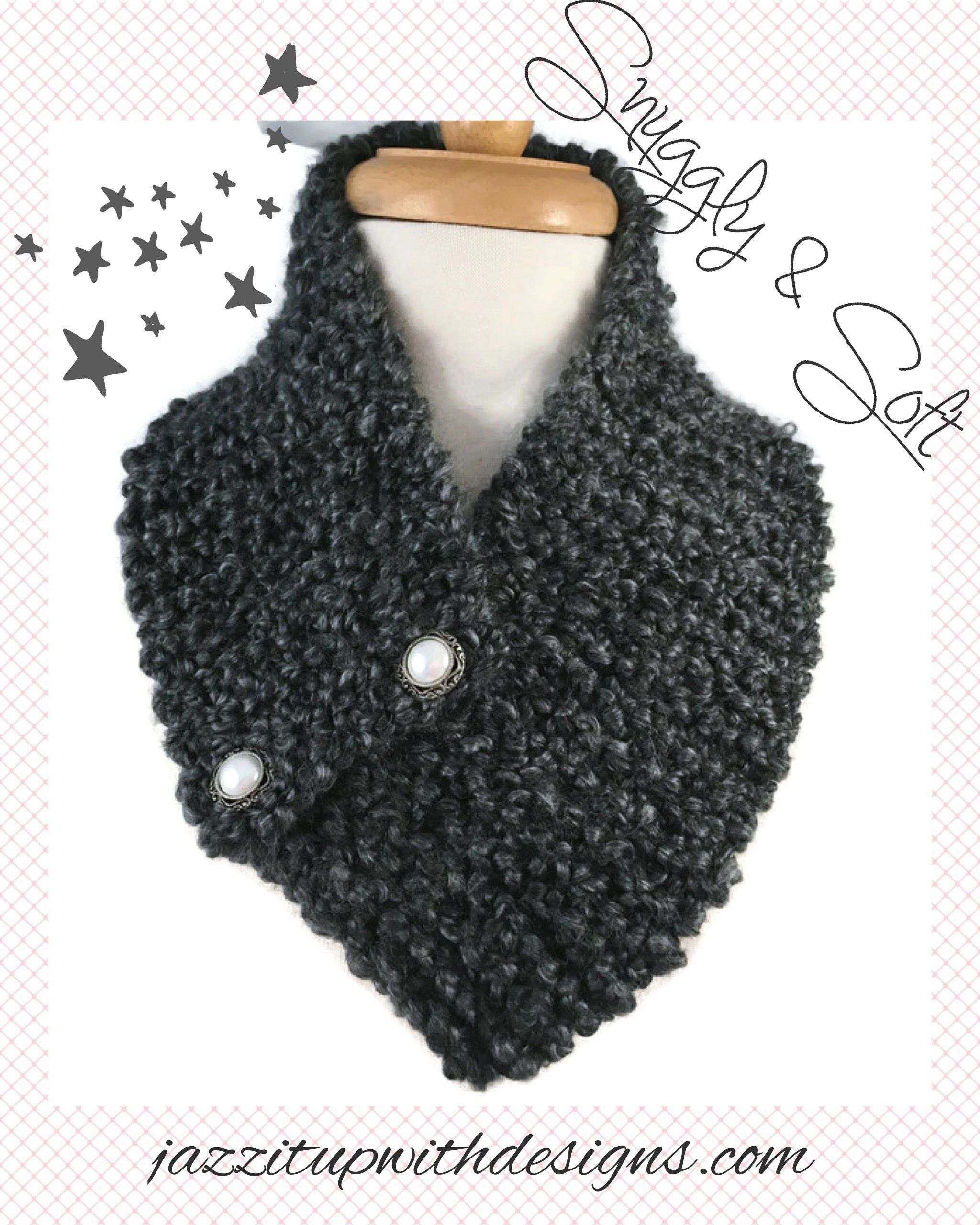 Ladies Gray buttoned neckwarmer Pearl Vintage Style buttons #cpromo