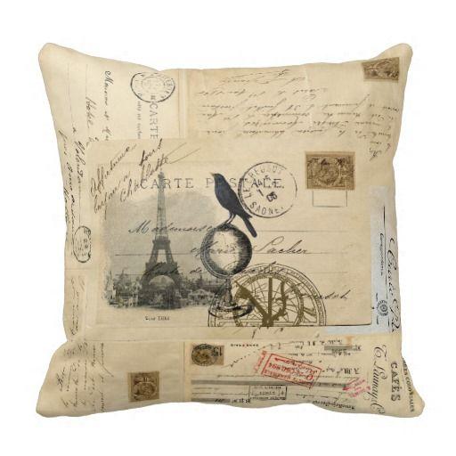 Beautiful Paris Crow Globe French Postcard Pillow Photo Gallery