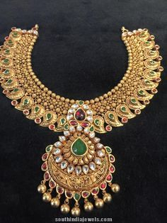 South Indian Wedding Gold Jewellery Choker Necklace Design Bridal