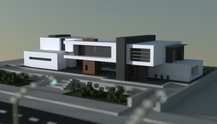 Modern house i made in minecraft download link http for Modern house schematic