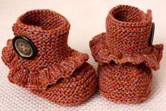 Baby Crochet Booties - so adorable cute they break my heart... little steam punk baby booties.