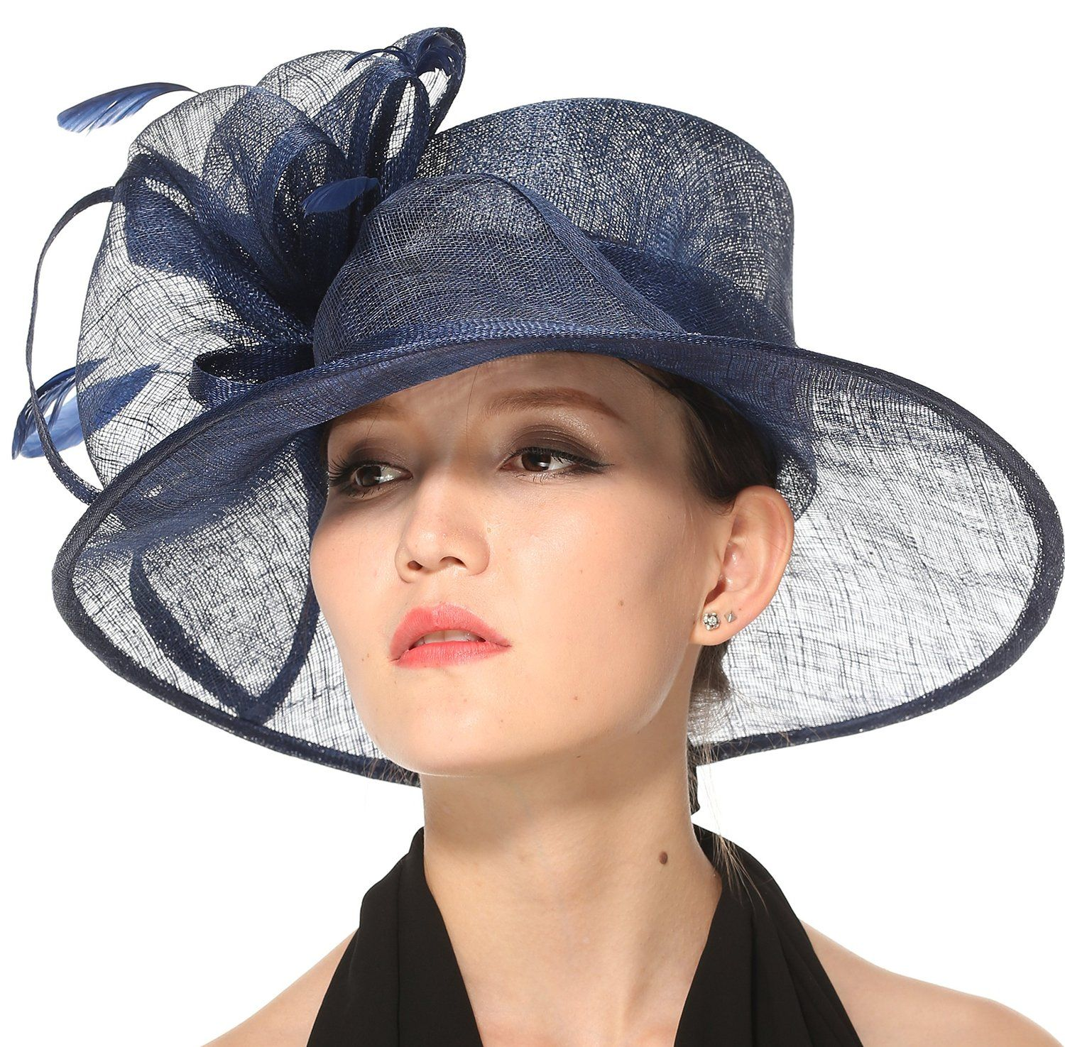 6afd6e25c10 Church Kentucky Derby Carriage Tea Party Wedding Wide Brim Sinamay Hat Navy  Blue at Amazon Women s Clothing store