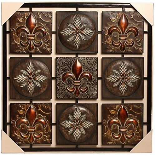 Wall Art Plaque Metal Square Medallion Decor Kitchen Patio bronze ...
