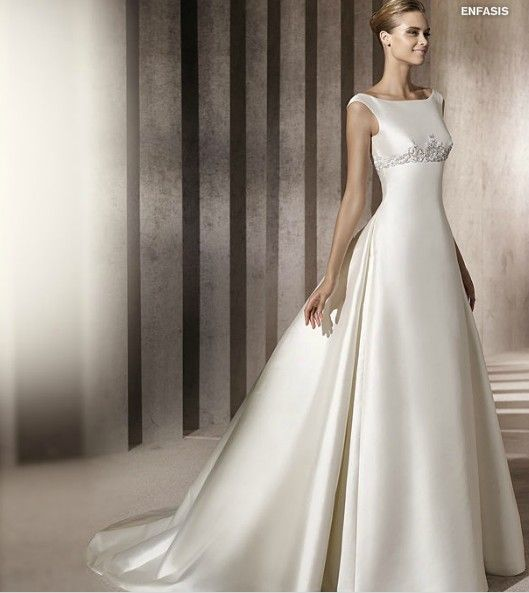 2012 Bateau Neckline Wedding Dress with Embroidery Sweep/ Brush length Satin Shape  Listing price:$329.00Our price:$153.99