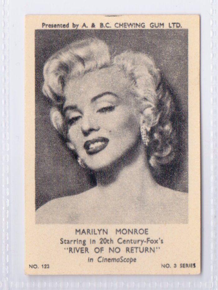 "'Marilyn Monroe starring in 20th Century Fox's ""River of No Return"" in Cinemascope'. Original vintage A&BC Ltd. Chewing Gum Card #123, Film Stars No 3. Series, 1954."