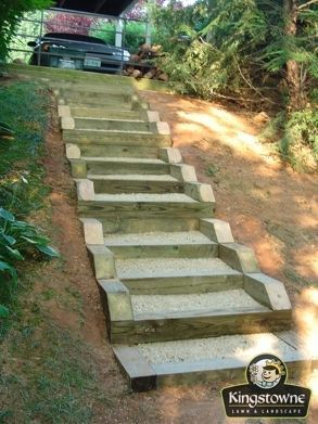 Caption  Timber Steps down a very steep slope  functional   cost  Step by Step    DIY Garden Steps and Stairs   Landscape timbers  . Outdoor Timber Stair Construction. Home Design Ideas