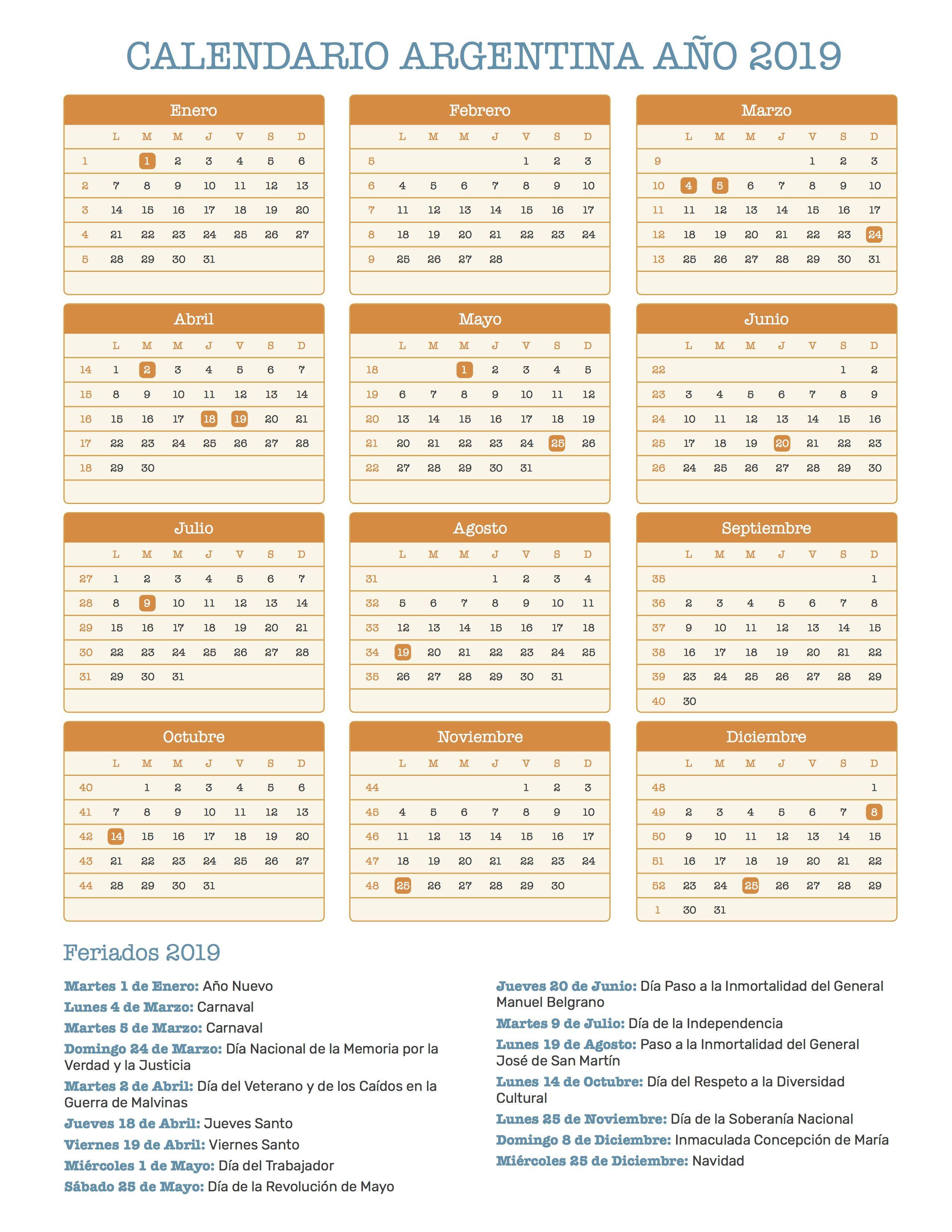 Calendario Chile 2019 Con Feriados.Calendario Argentina Ano 2019 Feriados Calendario