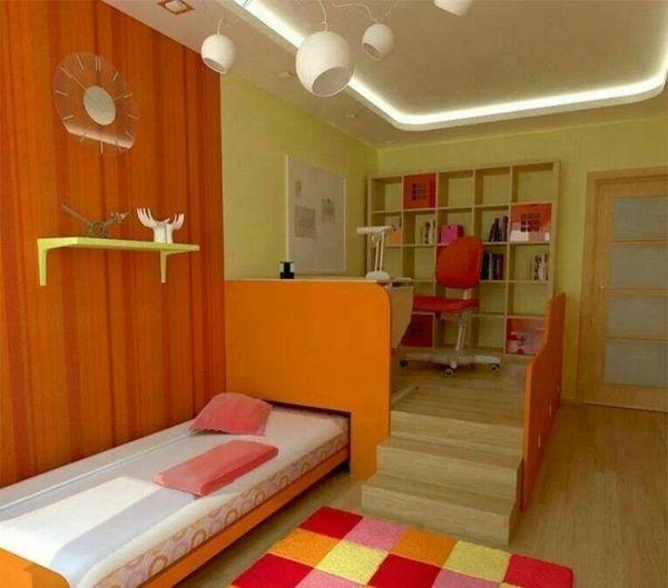 Jugendzimmer Gestalten Für Mädchen 2 Ebenen Bett Treppe Versteckte  Beleuchtung