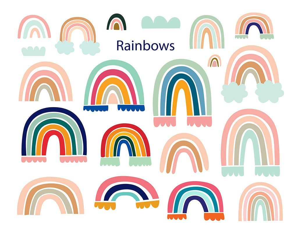Rainbow Clipart Instant Download Digital Paper Vector Png Etsy Rainbow Clipart Clip Art Rainbow Painting