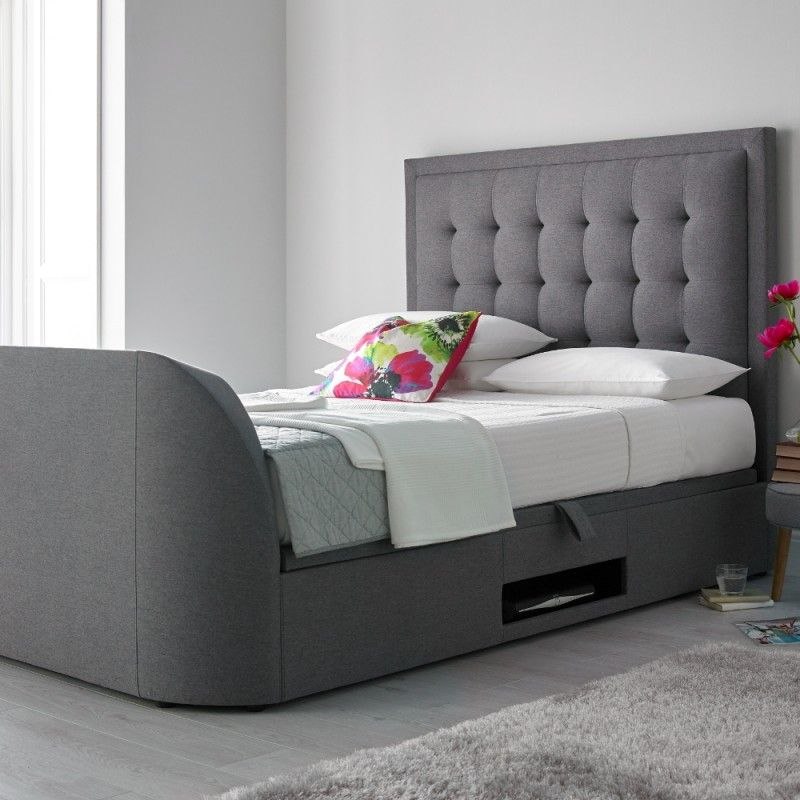 Metro Grey Fabric Ottoman TV Bed - 5ft King Size | Tv beds, Grey ...