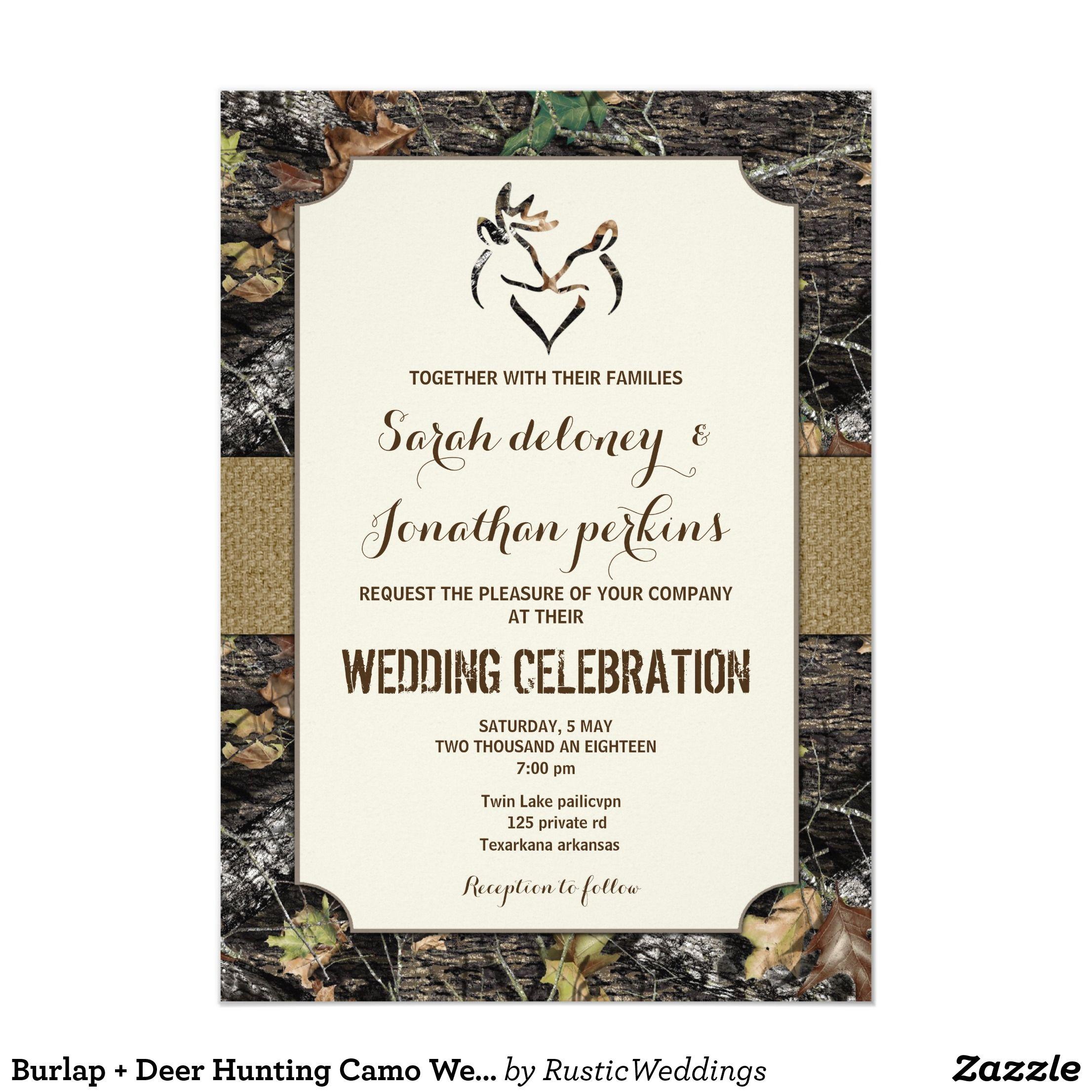 Burlap + Deer Hunting Camo Wedding Invitations | Wedding ideas ...