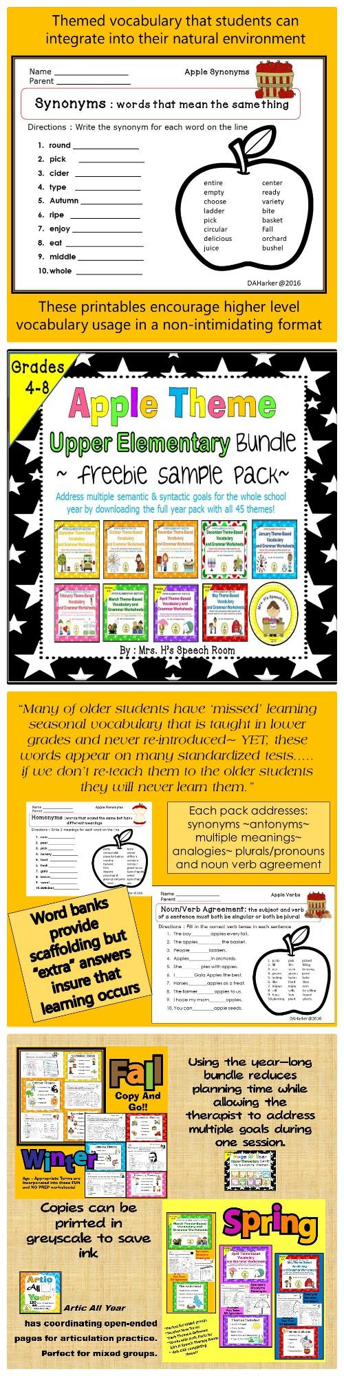 Apple Speechtherapy Upperelementary School Speech Therapy Upper Elementary Grammar Worksheets [ 2000 x 500 Pixel ]