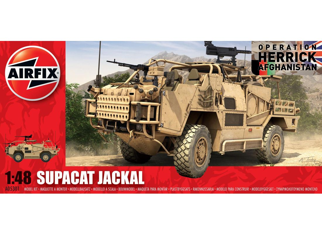 Airfix 1:48 Supacat HMT400 Plastic Model Vehicle 05301 Supacat HMT400 Jackal Plastic Model Vehicle. It is made by Airfix and is 1:48 scale (approx. 13cm / 5.1in long). Designed and developed by Supacat at their facility in Devon, England, the Jackal or MWMIK (Mobility Weapon-Mounted Installation Kit) is a wheeled, armoured vehicle used by the British Army.  Its primary role is one of deep battlefield reconnaissance as well as rapid assault and convoy protection.  In all of these roles…