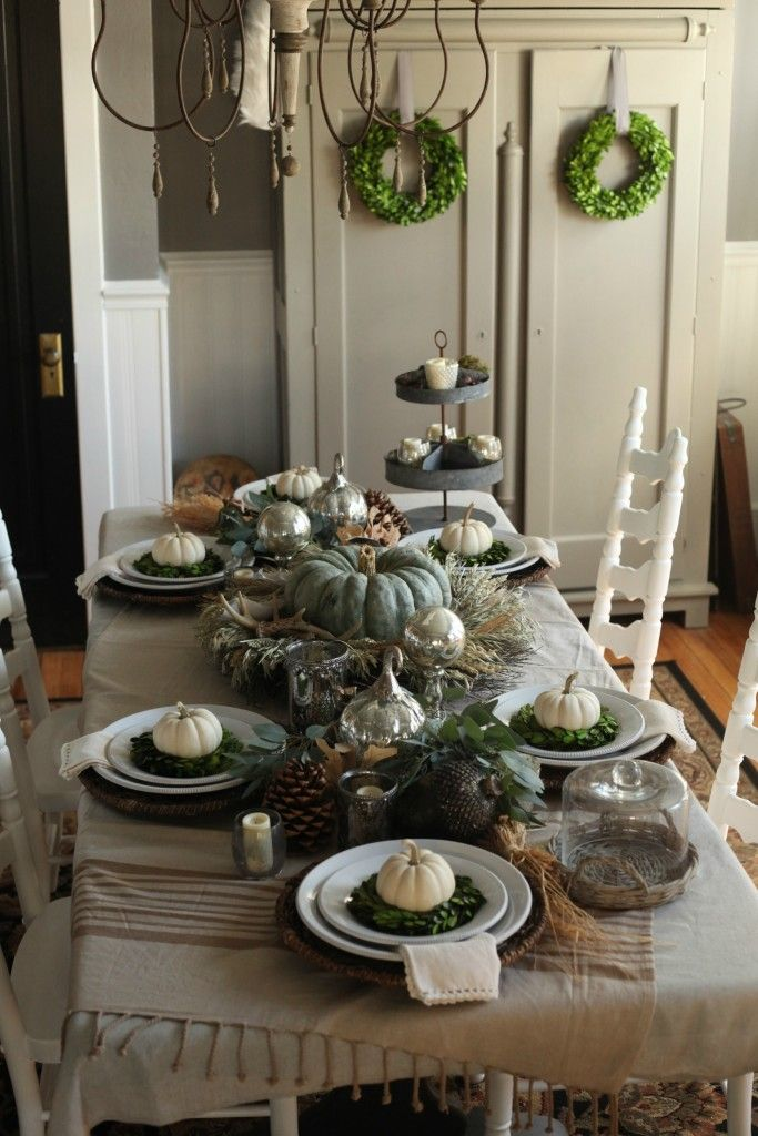 How to set a traditional Thanksgiving table with lots of rustic and - halloween decoration rentals