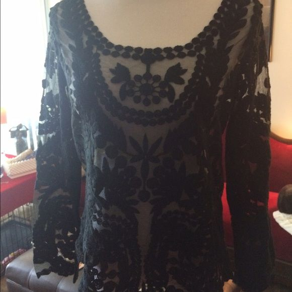 Black sheer lace shirt. Last markdown. NWOT New, never worn. Tops Tunics