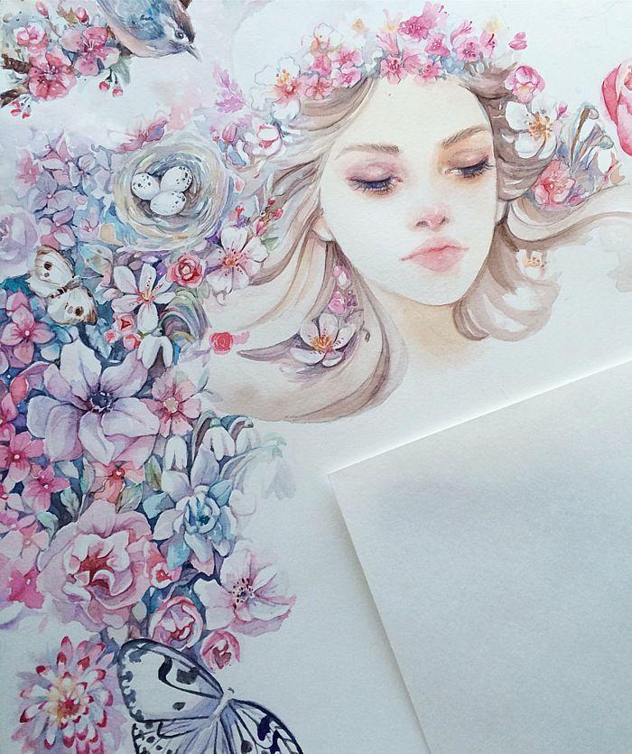 Девушка весна картинки красивые карандашом