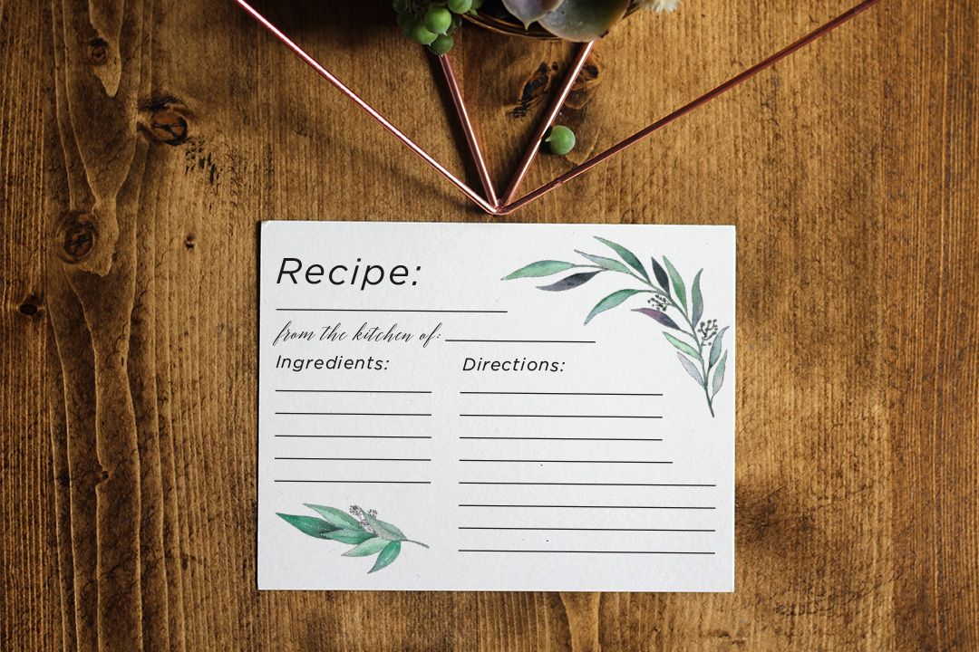 recipe themed bridal shower invitation wording%0A Eucalyptus Recipe Card