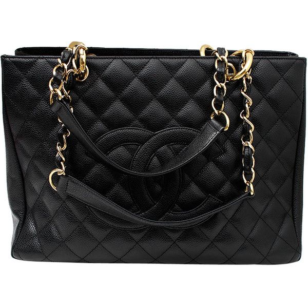 e87b3164309c This Chanel Grand Shopper Tote (GST) bag features black quilted caviar  leather