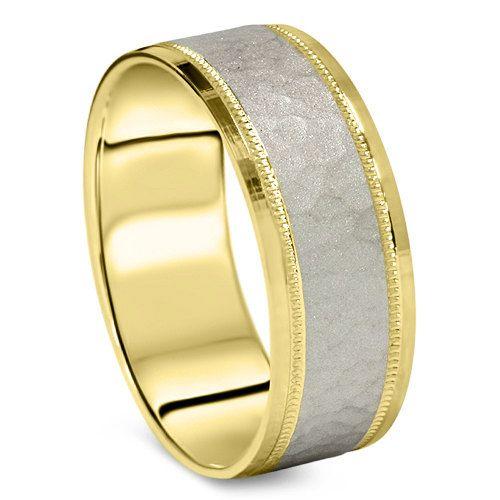 Hammered Platinum 18 K Yellow Gold 6 Mm Flat Comfort Fit Mens