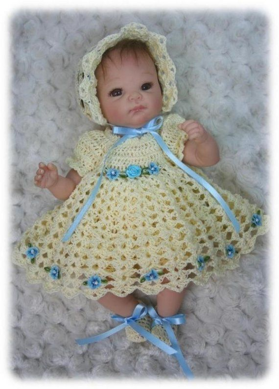 Crochet Pattern 6 Dress Set For 10 Inch To 12 Inch Baby Crochet Baby Dress Crochet Doll Dress Crochet Doll Clothes
