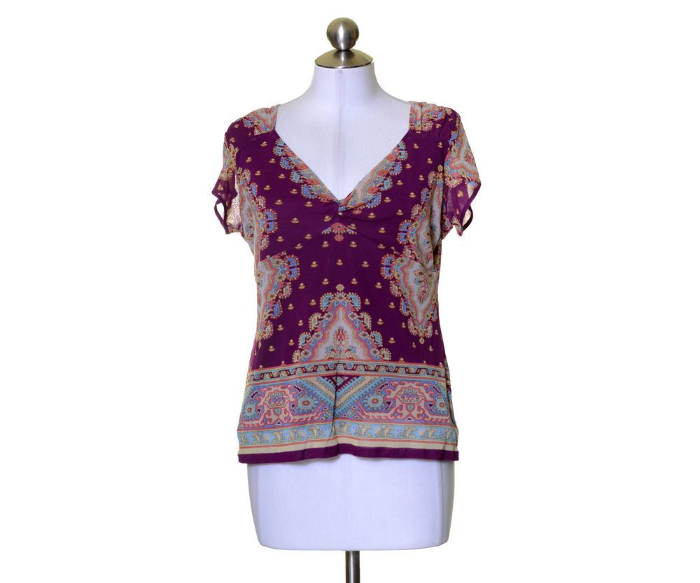 Nicole Miller Violet Purple Beige Print Nylon Mesh Lined Blouse Size L #NicolebyNicoleMiller #Blouse #Casual