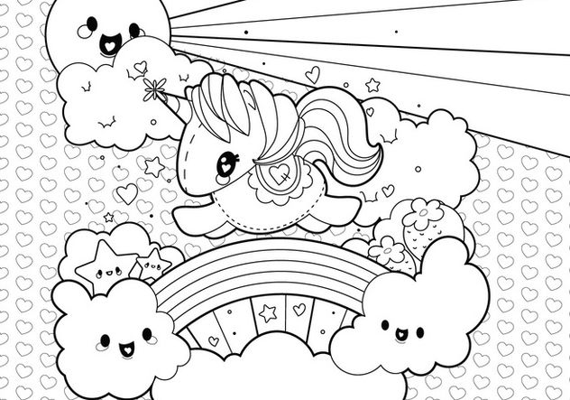 Cute Unicorn Clouds And Rainbow Coloring Page Unicorn Coloring Pages Butterfly Coloring Page Cute Coloring Pages