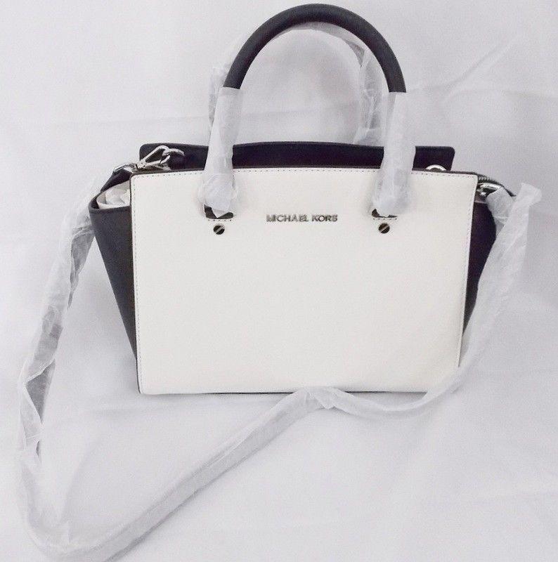 bf2e28b62620 Michael Kors Selma Medium Optic White Black Saffiano Satchel Shoulder Bag  New #MichaelKors #ShoulderBagSatchel
