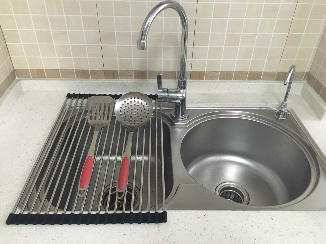 Rollup Dish Drying Rack Foldable Stainless Steel Over Sink Rack