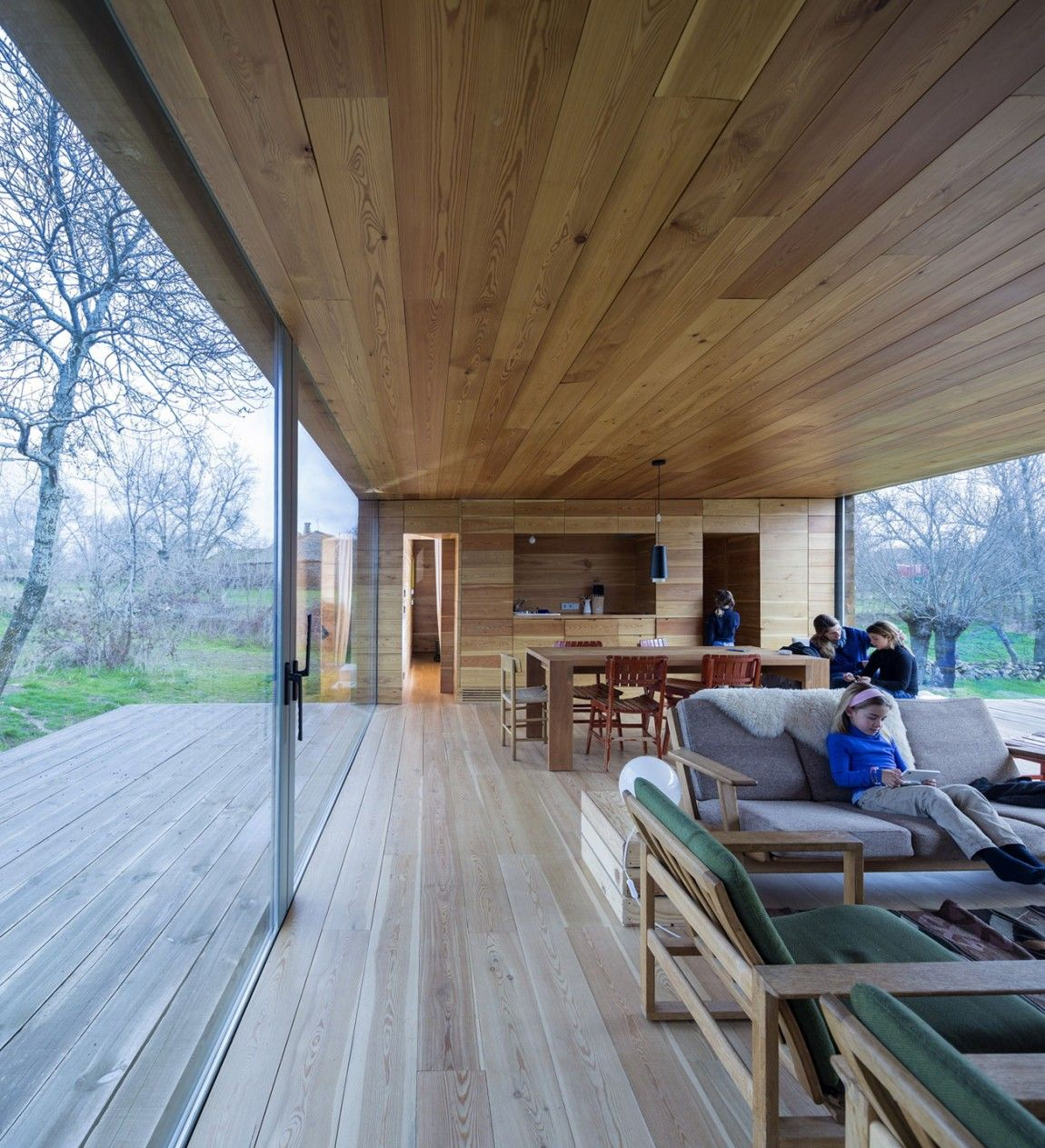 bright interior Detached Single Storey House Infused with Golden Rays of Light