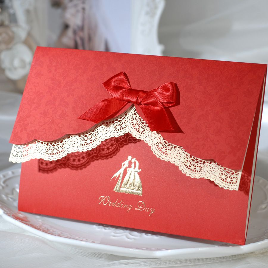 lace wedding invitation red card for party elegant with ribbon