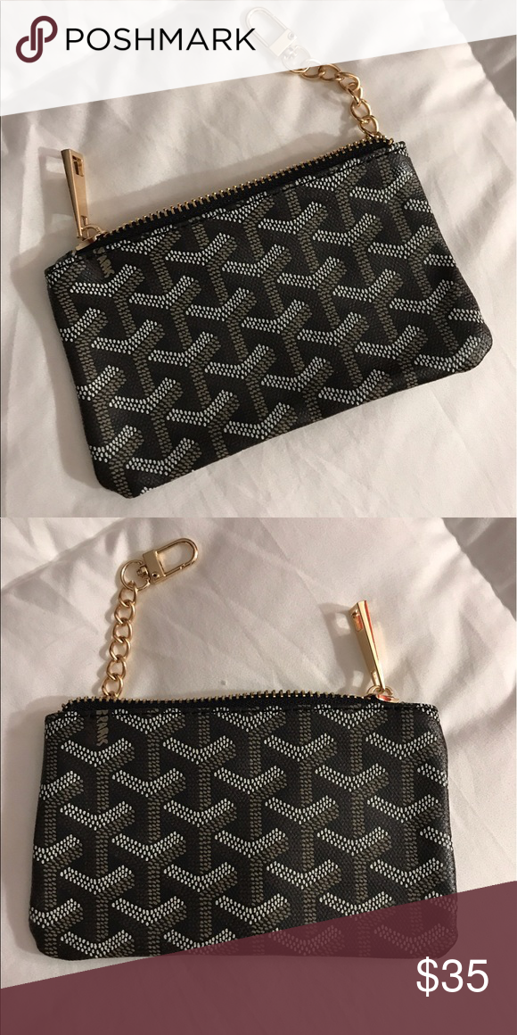 Goyard pattern no logo Zip pouch fits cards cash coins ...