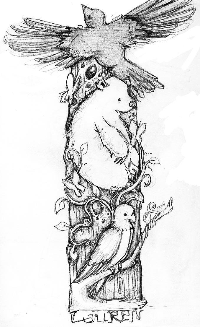 Native American folk lore totem animal pole.