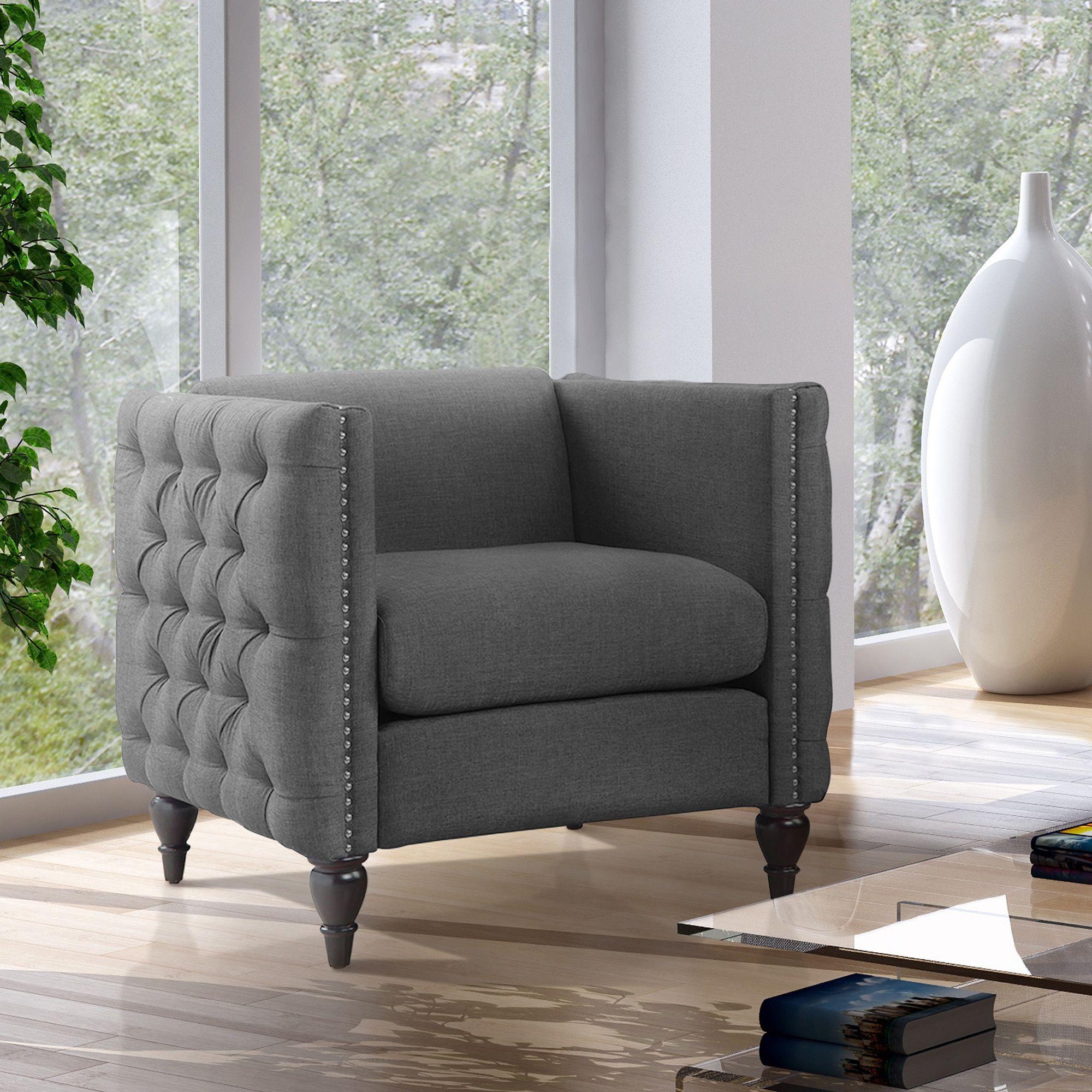 Cheap Furniture Stores Online Free Shipping: Furniture Of America Clara Tuxedo Linen Tufted Nailhead