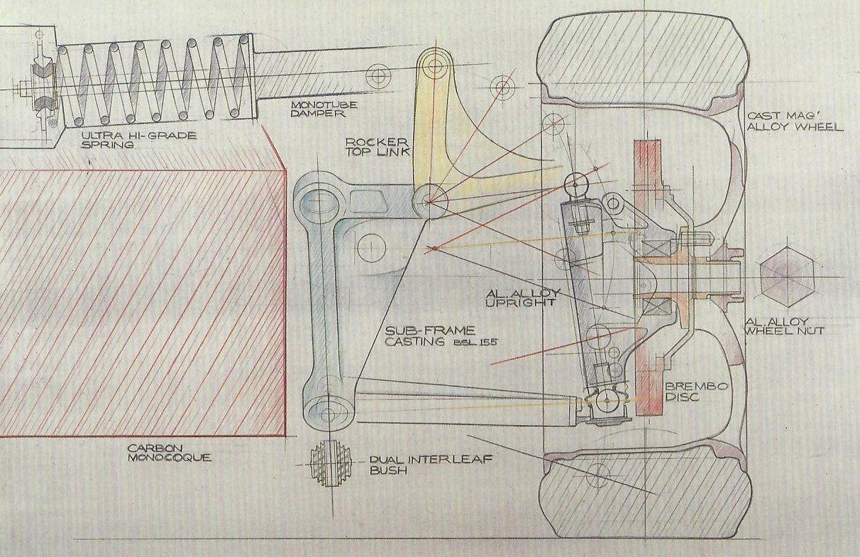 mclaren f1 suspension original sketch by gordon murray [ 1212 x 784 Pixel ]