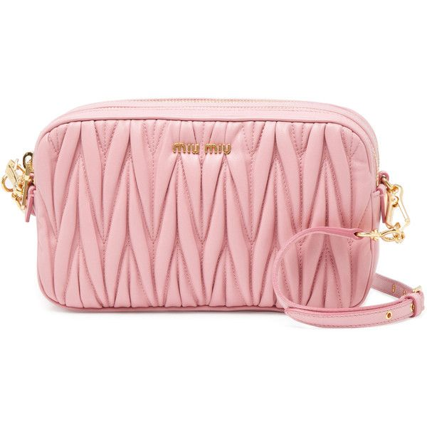 Miu Miu Matelassé Small Leather Double Zip Crossbody (13,765 MXN) ❤ liked on Polyvore featuring bags, handbags, shoulder bags, pink, red leather purse, leather crossbody, leather crossbody purse, pink shoulder bag and crossbody shoulder bags
