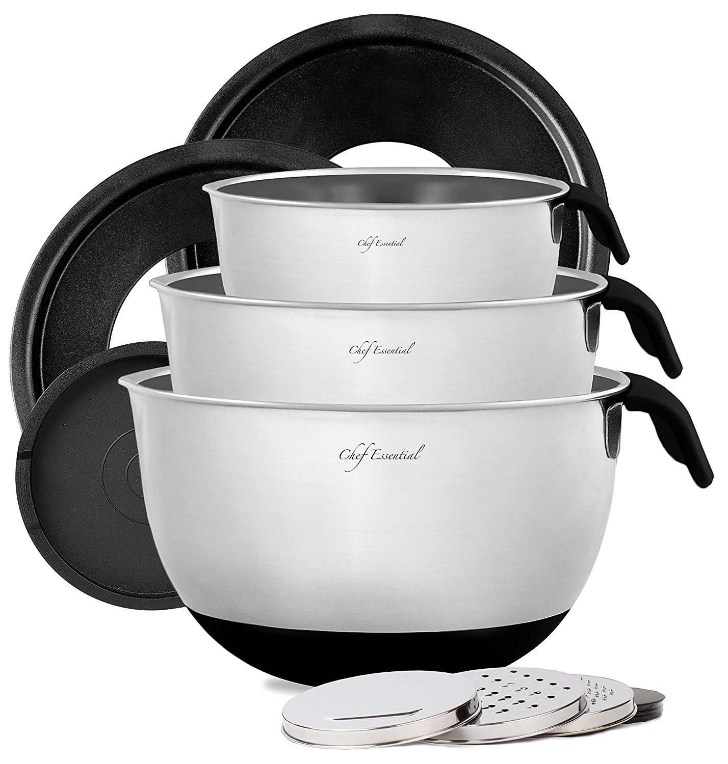 Chef Essential Stainless Steel Non Slip Mixing Bowls With Lids, Graters,