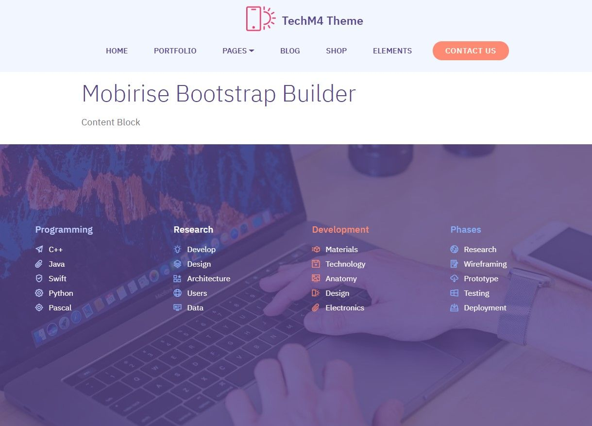 Mobirise Bootstrap Builder Content Block Techm4 Web Template Design Web Design Builder Website