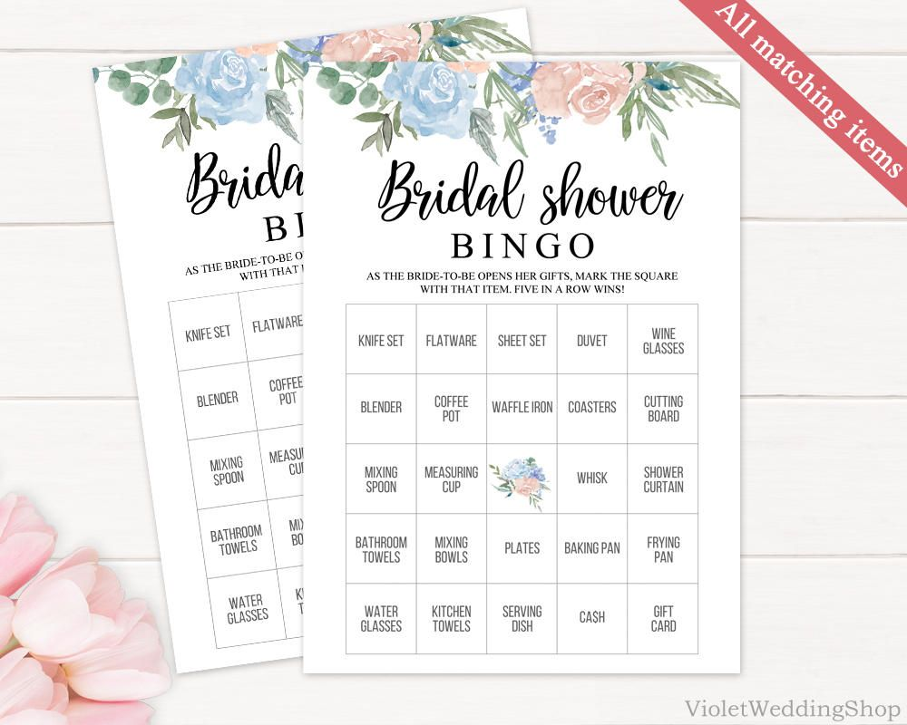 Cream And Blue Floral Bingo Game Template Printable Bridal Shower