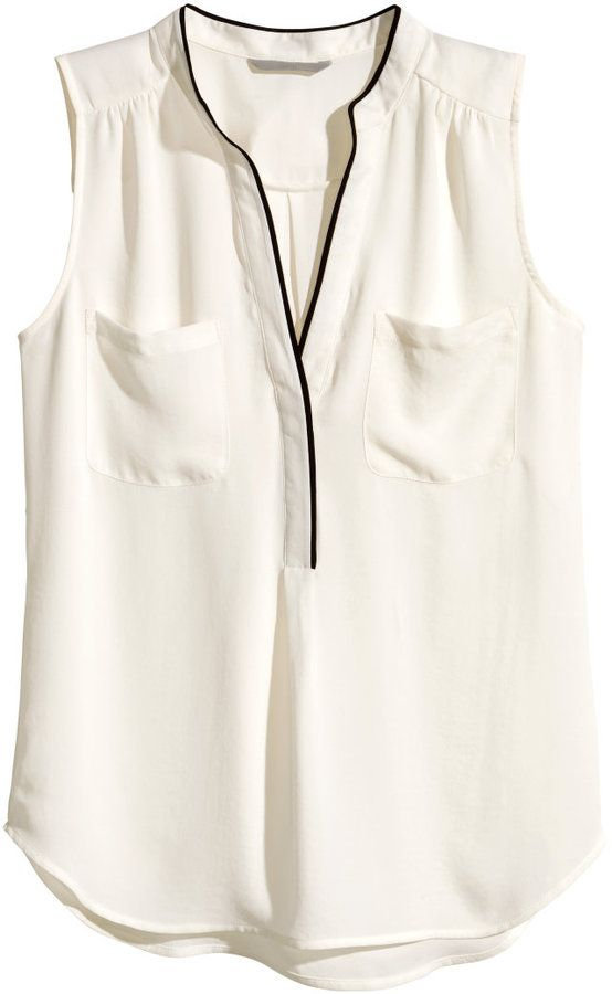 0dce1d33666 Visit - H M - Sleeveless Blouse - Natural white - Ladies Sleeveless V-neck  blouse in an airy
